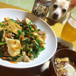 豆腐チャンプルーとミーバイのお味噌汁