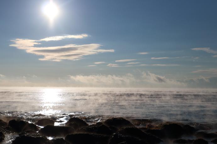 寒い日は海でけあらしが見られました